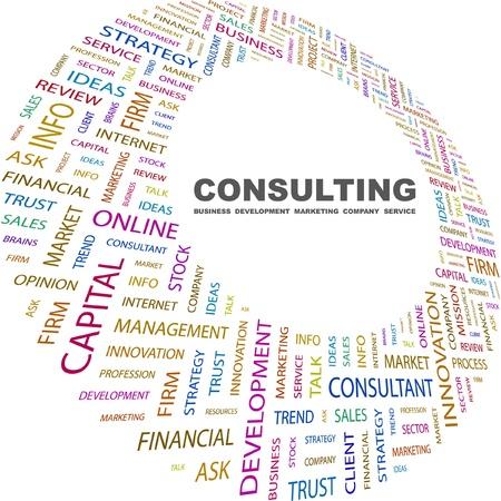 CONSULTATION. Collage de mot sur fond blanc. Illustration vectorielle. Illustration avec termes différents association.