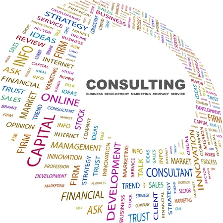 marketing mix: CONSULTING. Word collage on white background. Vector illustration. Illustration with different association terms.