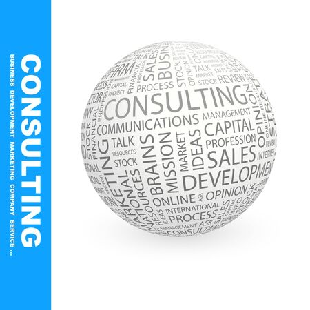 marketing mix: CONSULTING. Globe with different association terms. Wordcloud vector illustration.   Illustration