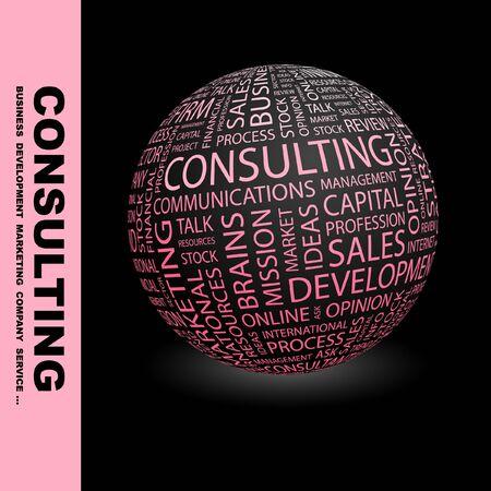財源: コンサルティング。異なる協会規約の地球。Wordcloud ベクトル イラスト。