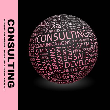keywords backdrop: CONSULTING. Globe with different association terms. Wordcloud vector illustration.   Illustration