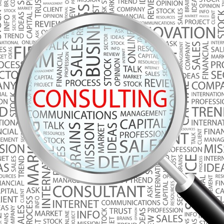 financial consultant: CONSULTING. Magnifying glass over background with different association terms. Vector illustration.
