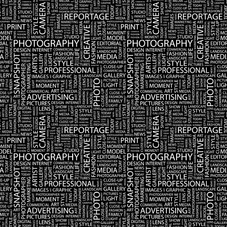 photoshop: PHOTOGRAPHY. Seamless vector pattern with word cloud. Illustration with different association terms.   Illustration