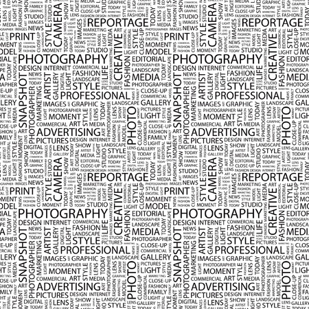 PHOTOGRAPHY. Seamless vector pattern with word cloud. Illustration with different association terms.   Vector