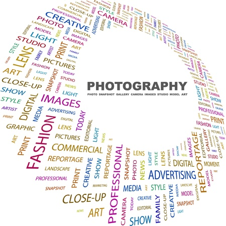 photograph: PHOTOGRAPHY. Word collage on white background. Vector illustration. Illustration with different association terms.    Illustration