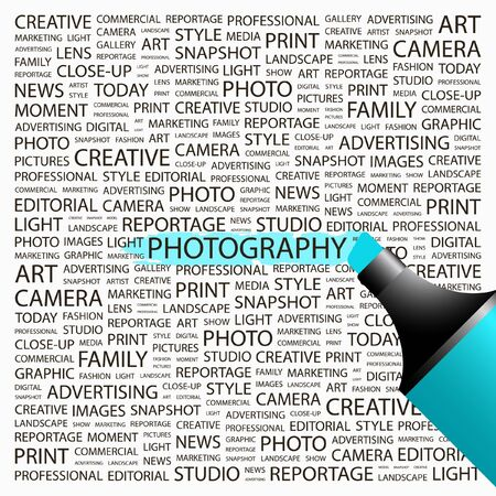 PHOTOGRAPHY. Highlighter over background with different association terms. Vector illustration. Stock Vector - 9026087