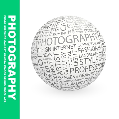 photography backdrop: PHOTOGRAPHY. Globe with different association terms. Wordcloud vector illustration.