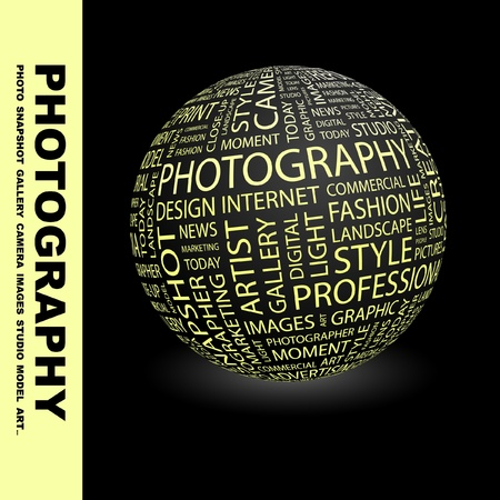zoom earth: PHOTOGRAPHY. Globe with different association terms. Wordcloud vector illustration.