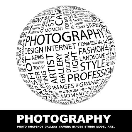serrande: FOTOGRAFIA. Globo con associazione diversi termini. Wordcloud illustrazione vettoriale.