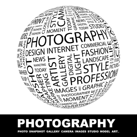 PHOTOGRAPHY. Globe with different association terms. Wordcloud vector illustration.   Vector