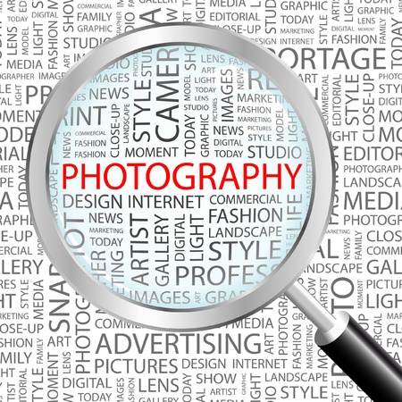 editorial: PHOTOGRAPHY. Magnifying glass over background with different association terms. Vector illustration.