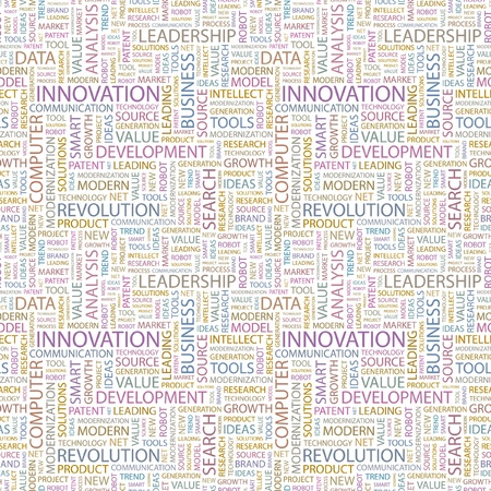 INNOVATION. Seamless vector pattern with word cloud. Illustration with different association terms.   Vector