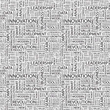 patent: INNOVATION. Seamless vector pattern with word cloud. Illustration with different association terms.   Illustration