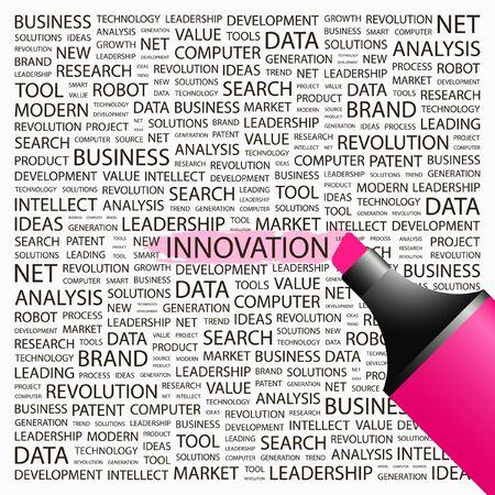 creative tools: INNOVAZIONE. Evidenziatore su sfondo con associazione diversi termini. Illustrazione vettoriale.