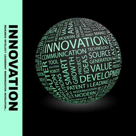 innoveren: INNOVATIE. Wereldbol met verschillende vereniging voorwaarden. Wordcloud vectorillustratie.   Stock Illustratie