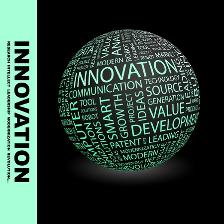advance: INNOVATION. Globe with different association terms. Wordcloud vector illustration.