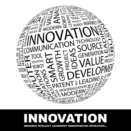 wordcloud: INNOVATION. Globe with different association terms. Wordcloud vector illustration.