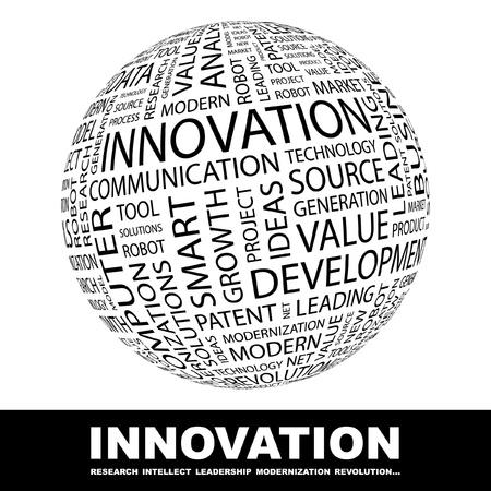 intellect: INNOVAZIONE. Globo con termini differenti associazione. Wordcloud illustrazione vettoriale.