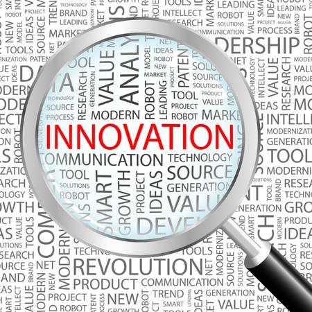 innoveren: INNOVATIE. Vergrootglas op achtergrond met verschillende vereniging voorwaarden. Vectorillustratie.