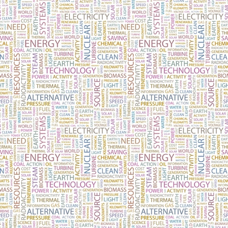 ENERGY. Seamless vector pattern with word cloud. Illustration with different association terms. Stock Vector - 9025962