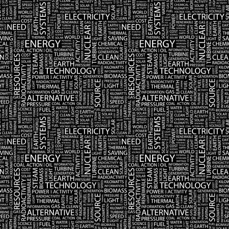 ENERGIE. Naadloze vector achtergrond. Wordcloud illustratie. Illustratie met verschillende vereniging voorwaarden.