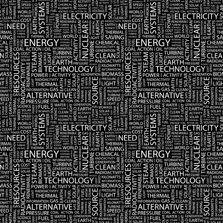 renewables: ENERGY. Seamless vector background. Wordcloud illustration. Illustration with different association terms.
