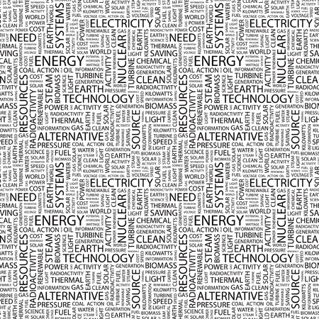 renewables: ENERGY. Seamless vector pattern with word cloud. Illustration with different association terms.