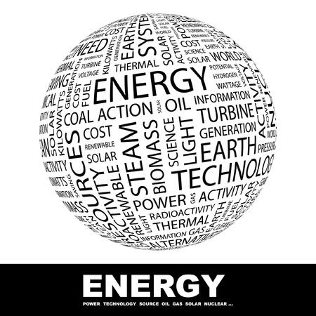 nuclear symbol: ENERG�A. Globo con t�rminos de asociaci�n diferente. Ilustraci�n vectorial de Wordcloud.