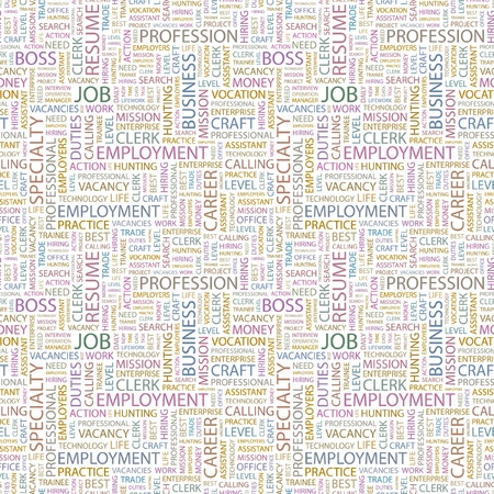 lifework: JOB. Seamless vector background. Wordcloud illustration. Illustration with different association terms.