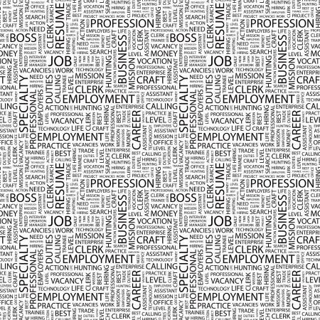 JOB. Seamless vector pattern with word cloud. Illustration with different association terms.