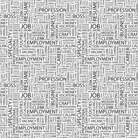 unemployment: TRABAJO. Patr�n de vector transparente con nubes de palabra. Ilustraci�n con t�rminos de asociaci�n diferente.   Vectores