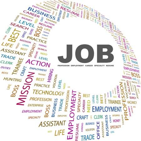 JOB. Collage de mot sur fond blanc. Illustration vectorielle. Illustration avec termes différents association.