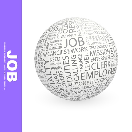 job recruitment: JOB. Globe with different association terms. Wordcloud vector illustration.