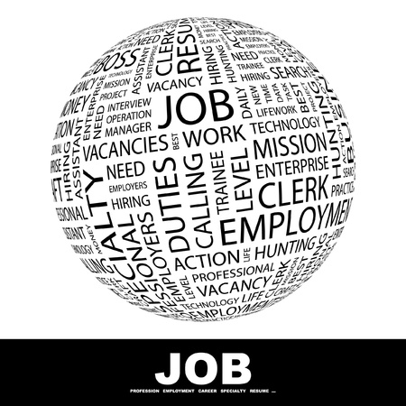 job hunting: JOB. Globe with different association terms. Wordcloud vector illustration.