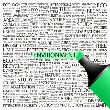 ENVIRONMENT. Highlighter over background with different association terms. Vector illustration. Vector