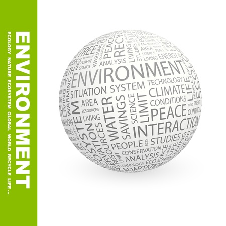 environmental analysis: ENVIRONMENT. Globe with different association terms. Wordcloud vector illustration.   Illustration