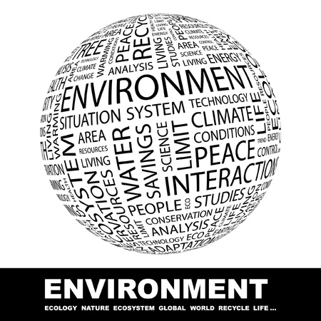 ENVIRONMENT. Globe with different association terms. Wordcloud vector illustration.   Vector