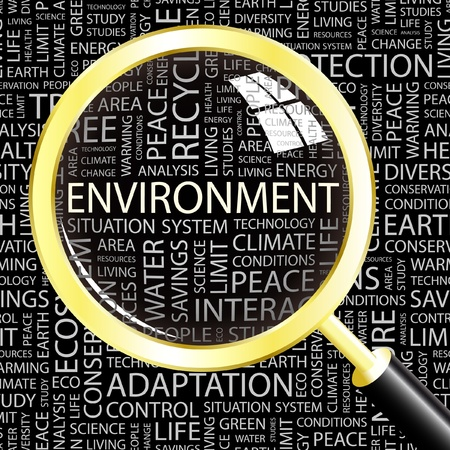 impacts: ENVIRONMENT. Magnifying glass over background with different association terms. Vector illustration.