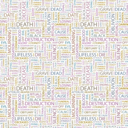 DEATH. Seamless background. Wordcloud illustration. Illustration with different association terms.   Vector