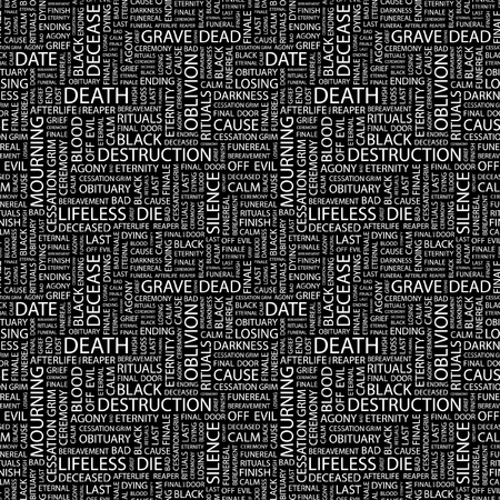 DEATH. Seamless vector pattern with word cloud. Illustration with different association terms.   Vector