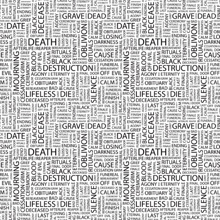 decease: DEATH. Seamless vector background. Wordcloud illustration. Illustration with different association terms.