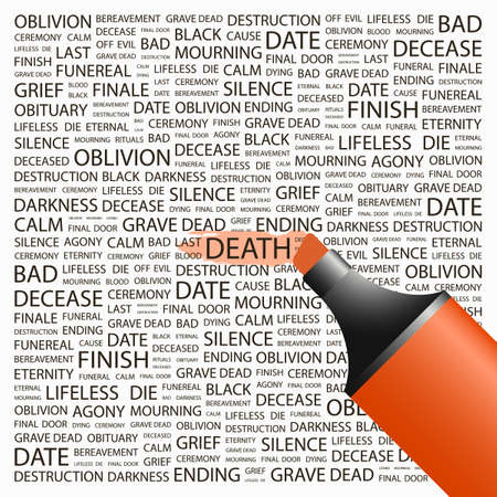 decease: DEATH. Highlighter over background with different association terms. Vector illustration.