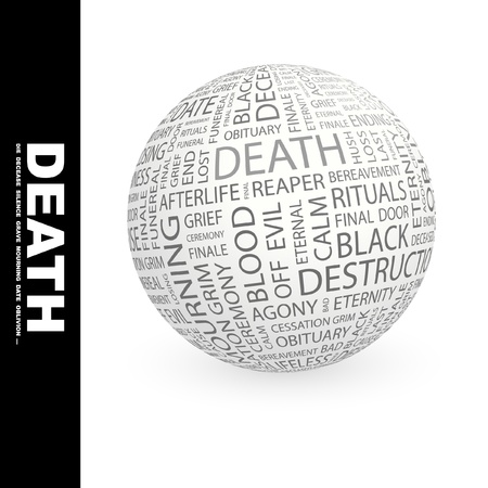 decease: DEATH. Globe with different association terms. Wordcloud vector illustration.