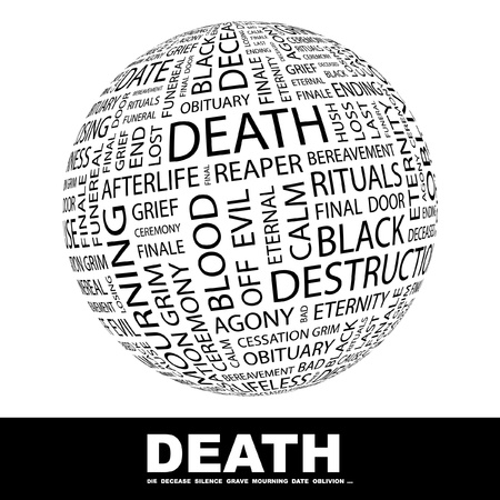 DEATH. Globe with different association terms. Wordcloud vector illustration.   Vector