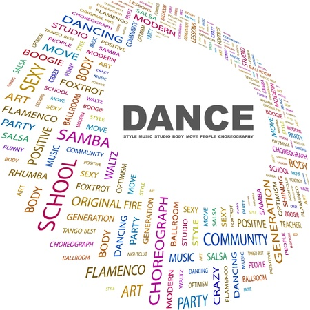 DANCE. Word collage on white background. Vector illustration. Illustration with different association terms. Stock Vector - 8840329