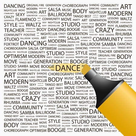 DANCE. Highlighter over background with different association terms. Vector illustration. Stock Vector - 9131107