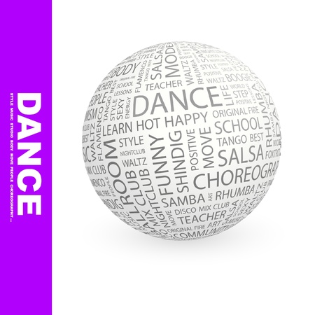 DANCE. Globe with different association terms. Wordcloud vector illustration. Vector