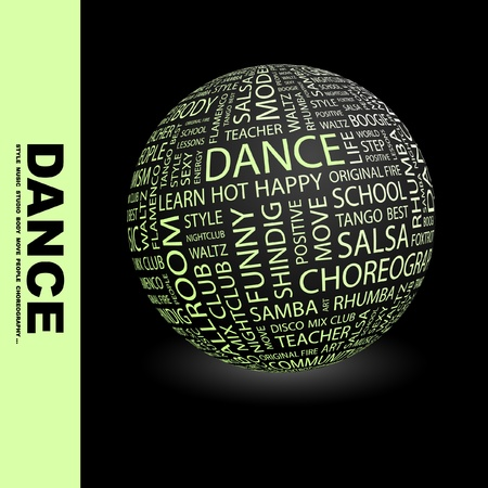 DANCE. Globe with different association terms. Wordcloud vector illustration. Vetores
