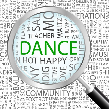 DANCE. Magnifying glass over background with different association terms. Vector illustration.