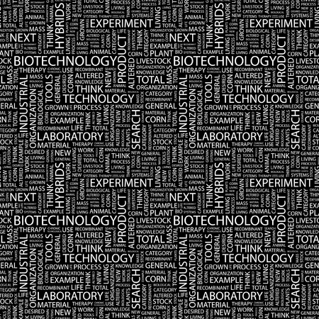 bioscience: BIOTECHNOLOGY. Seamless vector pattern with word cloud. Illustration with different association terms.